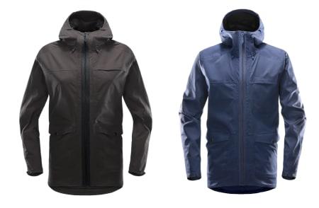 ECOPROOF: Haglöfs´ nye jakke skal være miljøvennlig med nærmest uendelig levetid, fordi den er laget i mye resirkulert materiale, og de fleste delene er utskiftbare. Daneutgaven til venstre og herreversjon til høyre.
