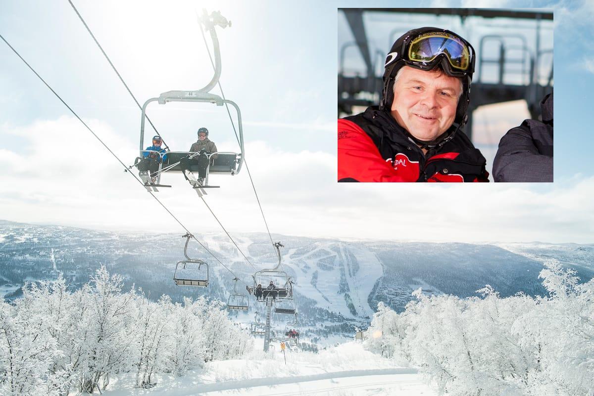 SKIFTER BEITE: Etter over fjorten år som leder i Skistar Hemsedal, skifter Andreas Smith-Erichsen (innfelt) jobb, og blir daglig leder i Geilo (det store bildet).