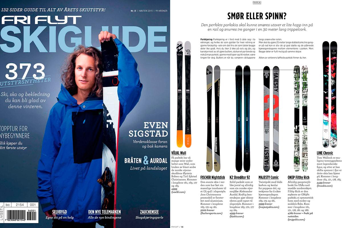 COVERBOY: Det er Field Productions Even Sigstad som pryder coveret av årets Skiguide. Til høyre: Cover, til venstre: Eksempel på side fra magasinet. Foto: Lars Myhren Holand