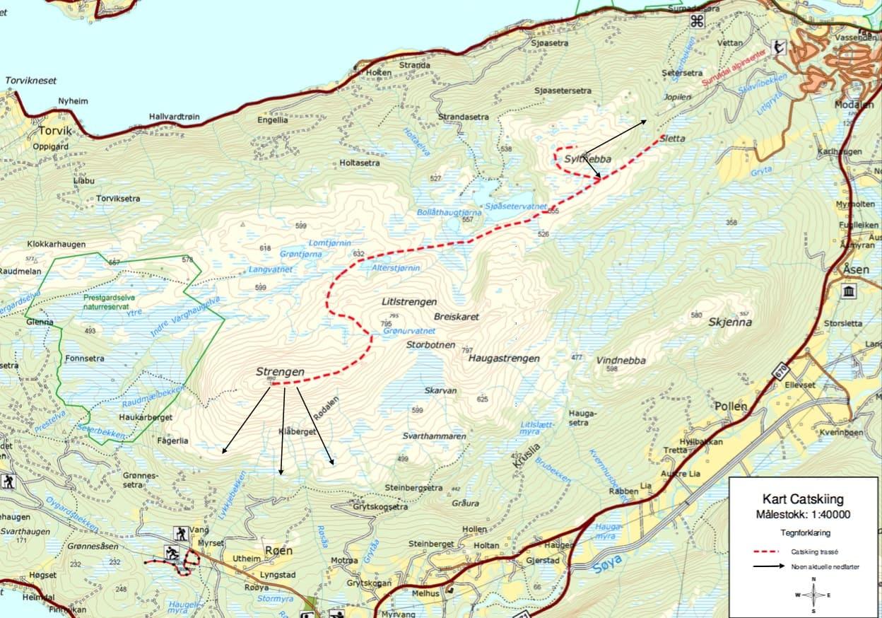 STRENGT: Vil Surnadal bli en av kommune som får bli med i forsøksordningen for catskiing i Norge? De ønsker en beltevognstrasé til Strengen. Illustrasjon hentet fra søknaden.