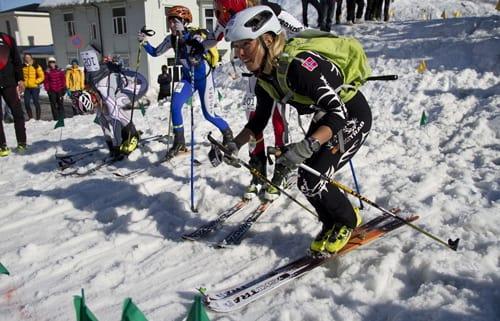 HISTORISK: Her er Malene Haukøy i ferd med å vinne verdenscupkonkurransen i randonnee i Sveits i helga. Foto: Norges Skiforbund