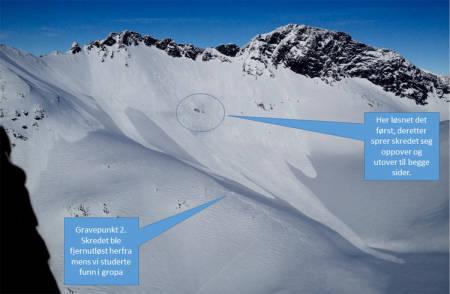 DRAMATIKK: Heldigvis ble ingen tatt i kjempeskredet på Nyheitind i Romsdalen i påska, men på grunn av fare for nye, store skred måtte gruppa hentes ned med helikopter. Foto: 330-skvadronen