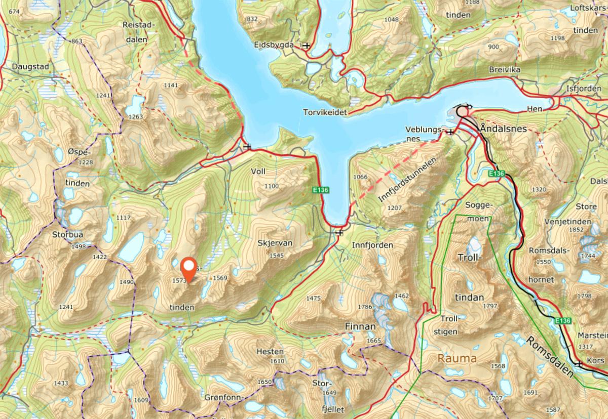 NONSTINDEN: Populært toppturfjell som ligger sørvest for Åndalsnes.
