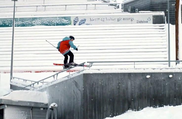 BERØMT ARENA: Her hopper, og railer, Jesper Tjäder i Lysgårdsbakkene ved Lillehammer.