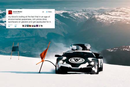 UENIG: Jacob Wester lot seg ikke imponere av bilstuntet til Jon Olsson. Foto: jon-olsson.com / Skjermdump