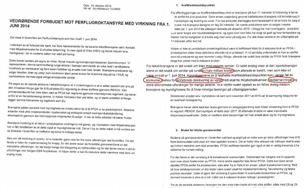 SKREV ET BREV: Sportsbransjen, Virke og Norsk Industri ber i et brev om et møte med Miljødirektoratet.