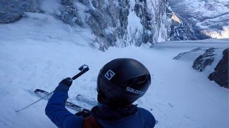 MED EGNE ORD: Les hva Kilian selv forteller om sin vanvittige førstenedkjøring i Romsdalen. Foto: Kilian Jornet