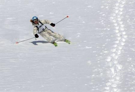Lille Pia Røhring leverte i dag nydelige alpinsvinger. Foto: Sverre Hjørnevik