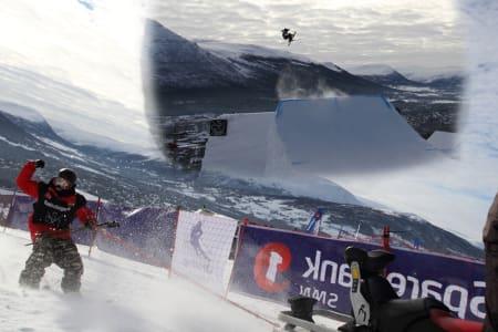 HVEM SKAL TIL SVERIGE: Espen Bergh som henger på skuter´n, etter Gaute Silseth som henger oppi lufta? Foto: Tore Meirik