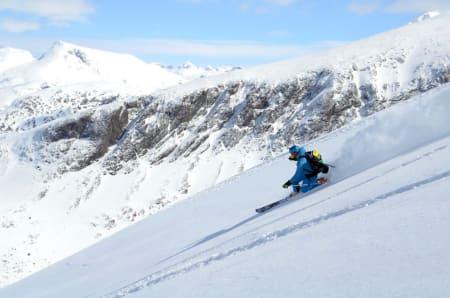 KONGEFØRE: Kronprins Haakon kunne nyte god snø fra toppen av Lauvnostind (1950 moh.) Foto: Erlend Sande