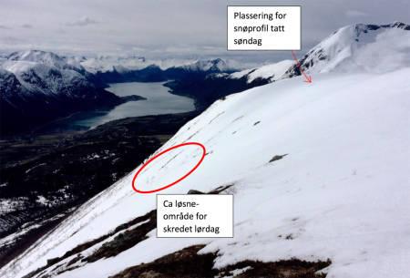 SØRVENDT: Den fatale skredulykken skjedde i et sørvendt heng på Steinberget i Isfjorden. Bilde fra NVEs skredrapport.