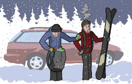 EN HÅNDSREKNING: Svikter utstyret ditt, hender det at hjelpen er nær. Illustrasjon: Danny Larsen