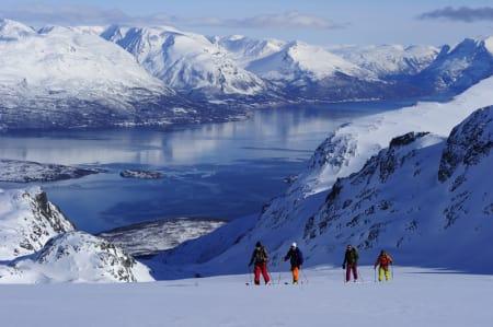 TIL FOTS: Eric Hjorleifson, Eririk Finseth, Aksel Lund Svindal og Tor Olav Naalsund på jakt etter bratte fjell. Foto: Mattias Fredriksson