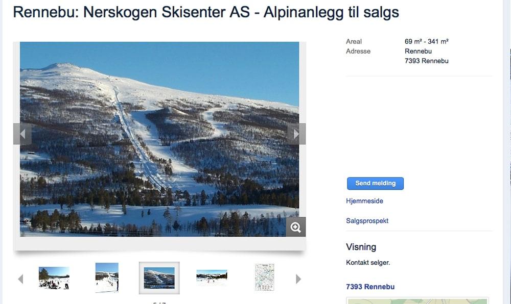 SALG: Her ligger Nerskogen Skisenter ute for salg. Foto: Skjermdump / Finn.no