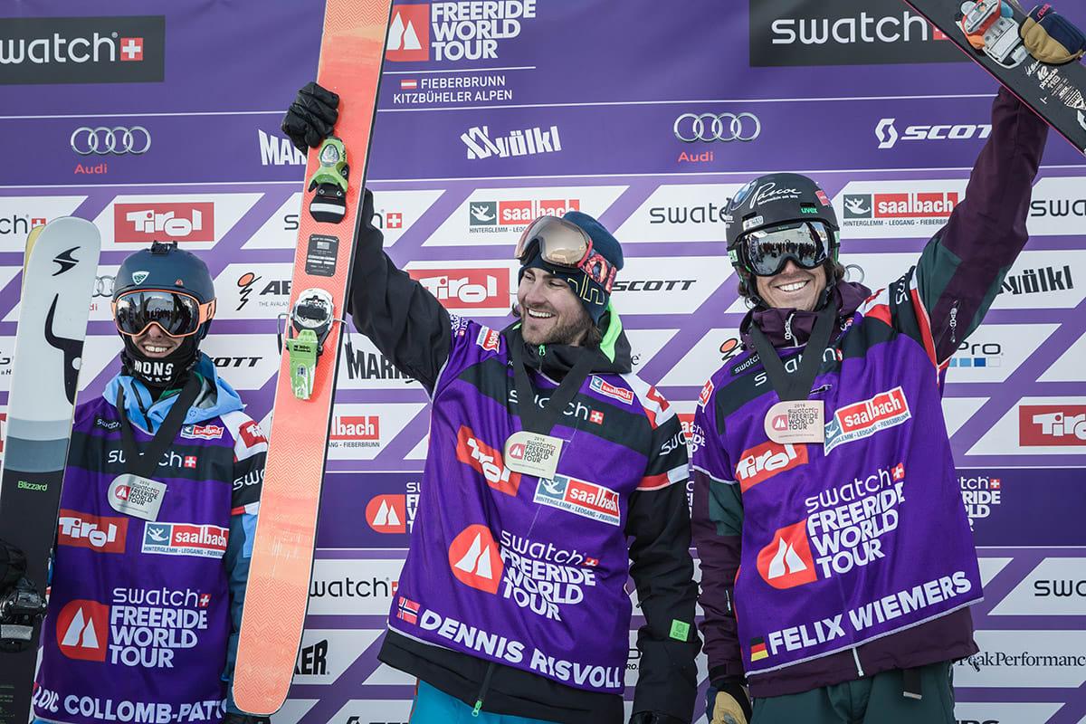 PÅ TOPPEN: Franske Löic Collomb-Patton vant FWT sammenlagt i fjor, men i Østerrike måtte se seg slått av Dennis Risvoll (i midten). Felix Wiemers ble nummer tre. Foto: Dom Daher