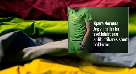 ANGRIPES: I denne kampanjen angripes Norrøna. Foto: Hans Petter Hval (illustrasjon) og Framtiden i våre hender