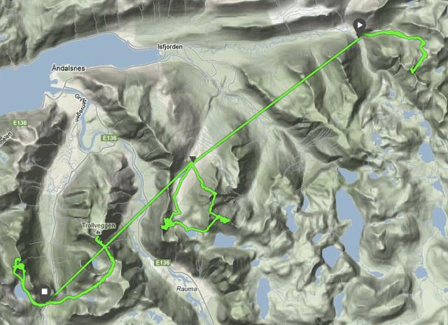 SPORET: Denne GPS-loggen viser guttas bevegelser på de sju fjellene.