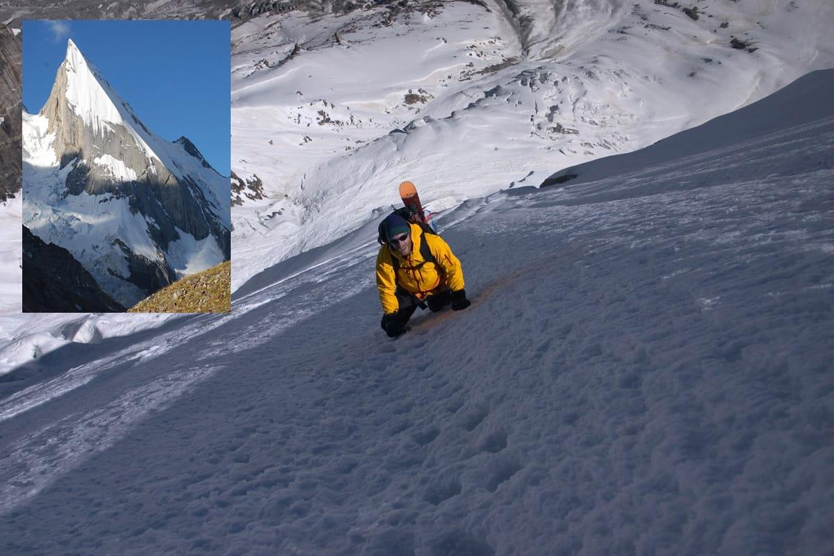 ENDELIG KJØRT FRA TOPPEN: Jørgen Aamot var svært nær på å få kjørt spektakulære Laila Peak fra toppunktet i 2005, men ikke før i 2018 ble hele fjellet kjørt på ski. Foto: Fredrik Ericsson