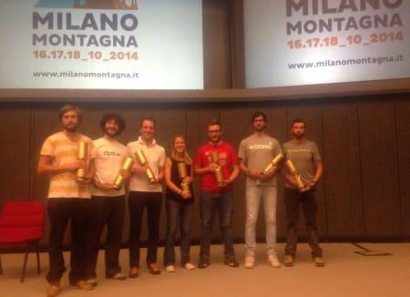 VANT PRIS: Endre hals (til venstre) sammen med de andre prisvinnerne i vinersportsklassen under Milano Montagna Design Awards.