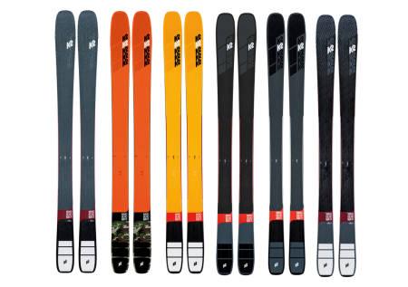 NESTE SESONGS SKI FRA K2: Fra venstre: Mindbender 98 Ti Alliance, 116c, 108 Ti, 99Ti, 90Ti og 88.