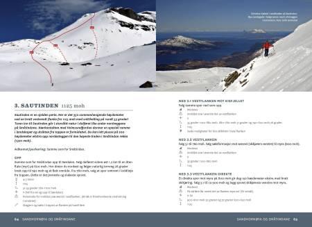 FRA BOKA: Eksempel på oppslag fra Boka, her fra Sautinden. Alle turene i boka er beskrevet med ruteinntegninger på flyfotografier.