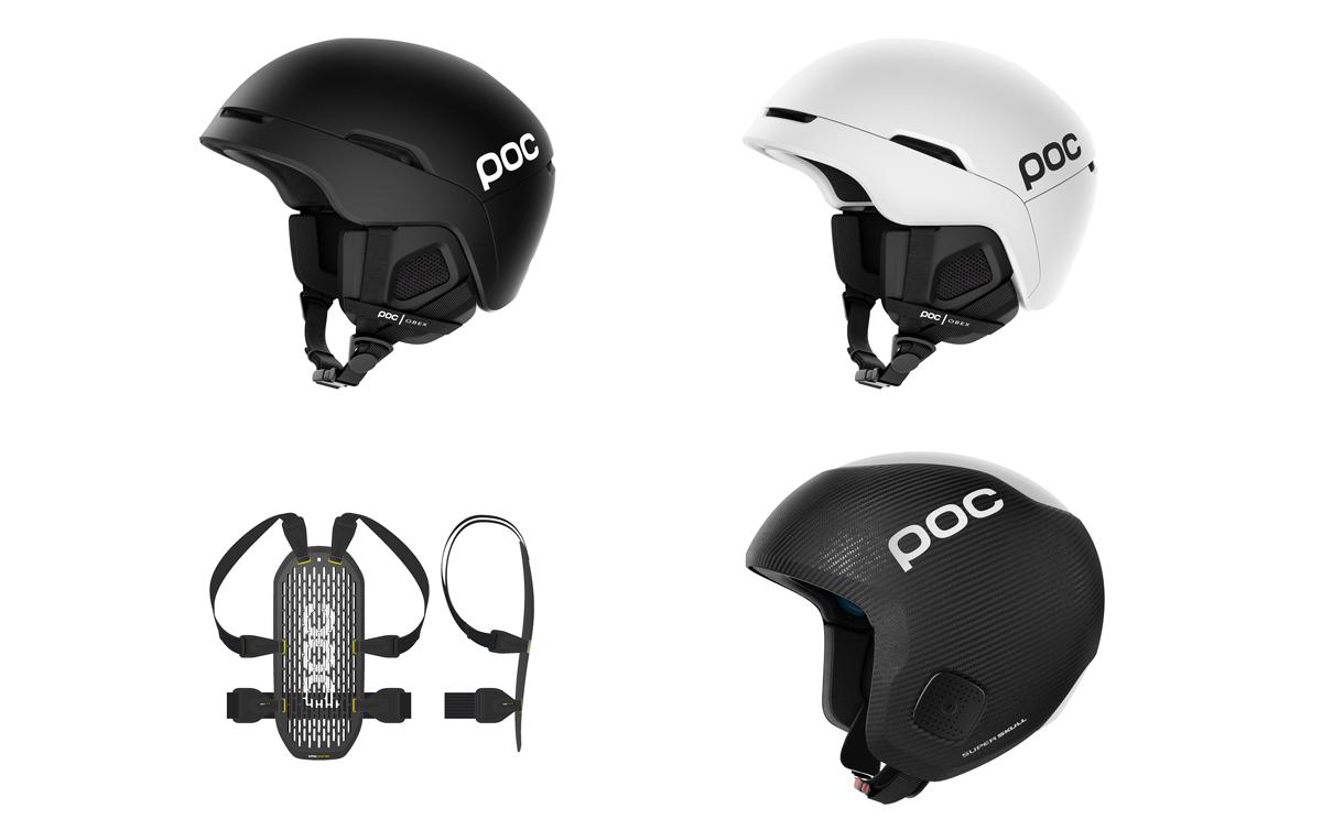 POC NESTE ÅR: Den nye hjelmen Obex Spin øverst, og ny ryggplate og den nye super-eksklusive karbonhjelmen Super Skull Spin nederst til høyre.