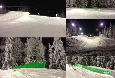 SMÅELEMENTER: Den svære slopestyleløypa og halfpipen i Wyller lar vente på seg, men det er mange mindre elementer å kose seg på i Oslo Vinterpark for tida. Disse bildene ble tatt torsdag kveld.