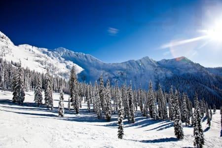 SNØHVIT: Toppen av Ymir vokter over skiområdene i Whitwater og sørger for drøye 500 acres med frikjøring - som er omlag halvparten skiterrenget her.
