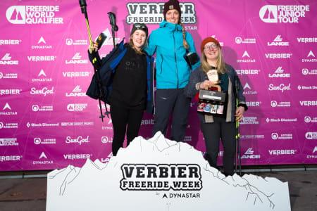 STABILT GOD: Vilde Fimreite (til venstre) leverte nok en strålende prestasjon i Verbier. Hun ble nummer to, kun slått av britiske Fiona Jamison Revah. Svenske Ronja Stenhöös ble nummer tre. Foto: FWQ