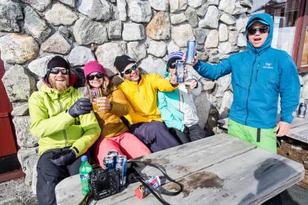God stemning på Spiterstulen etter en vellykket dag med puddersnø fra Glittertind. Foto: Christian Nerdrum