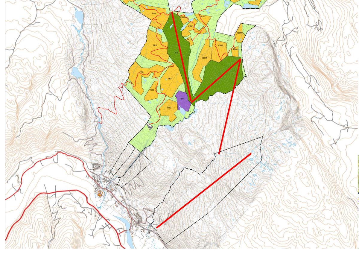 SKI-THROUGH: Blir planene en realitet, kan du stå på ski fra over 1000 m. o. h. og nesten ned til McDonalds-drive-throughen langs RV7 på Flå. De tjukke, rette røde strekene viser hvor heisene skal komme.