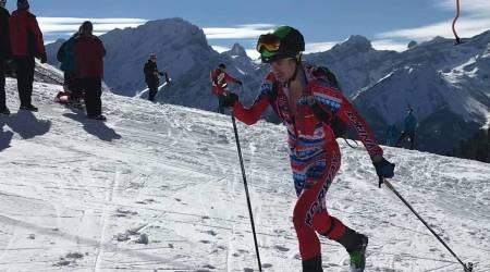 Lars Erik Skjervheim gikk inn til 13. plass under kravende snøforhold og stekende sol i rando-VM i Sveits. Foto: NSF