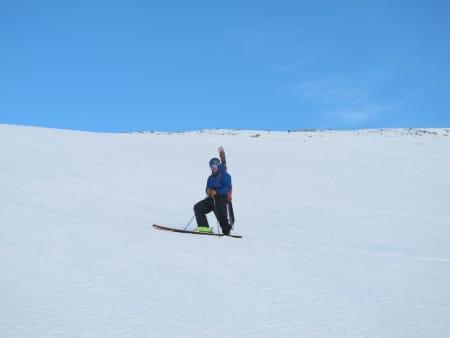 Bindingen til frikjører Sten Lundström knakk og løsnet noen meter før toppen av Kyrkjetaket