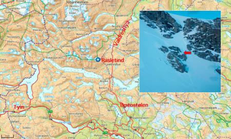 SKRED: Det var i dette området og ved denne terrengfellen skredet gikk. Foto: Google Maps / Varsom.no