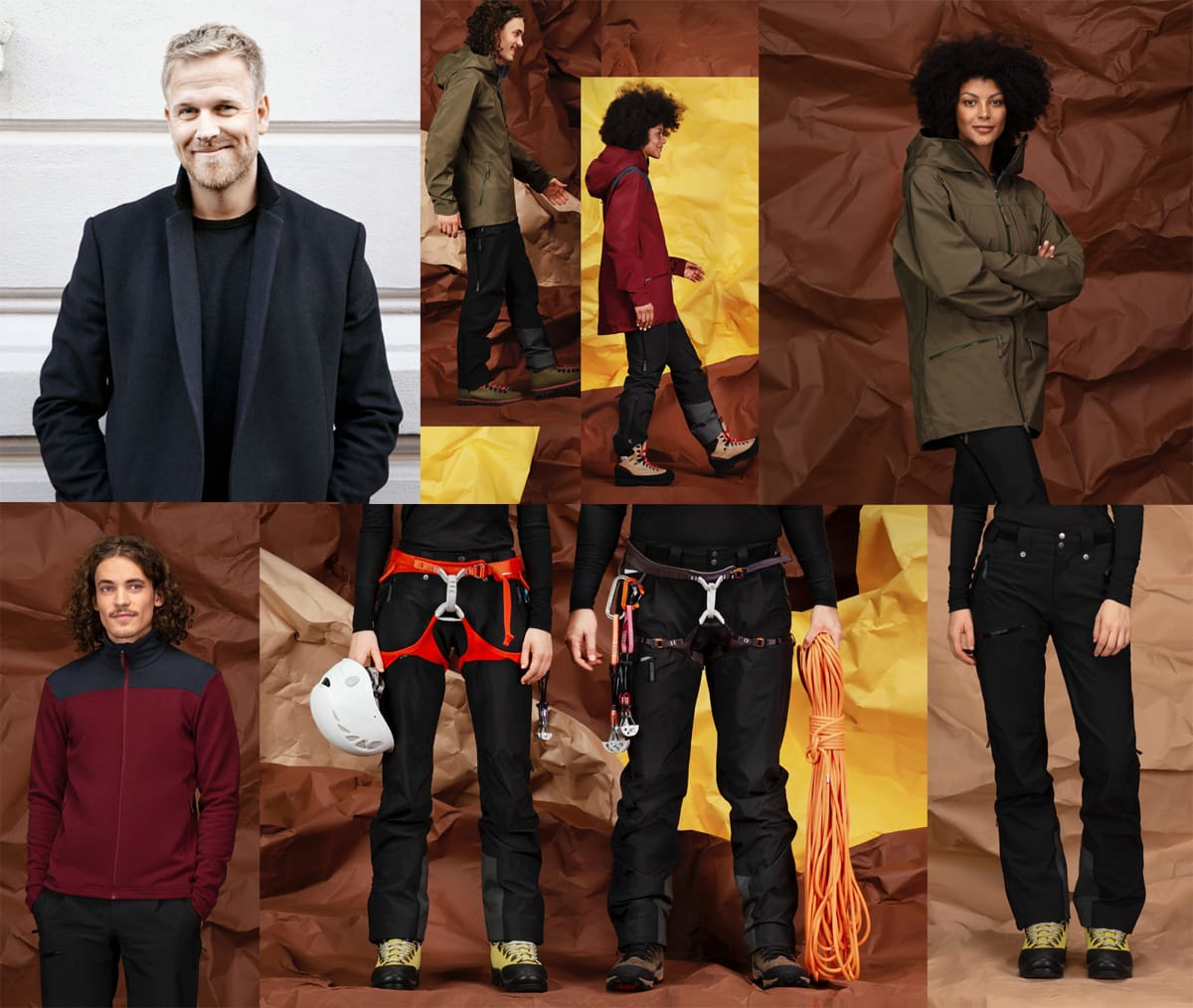 RELANSERING: Frode Grønvold (øverst til venstre) er sjefen når Norrøna lanserer Whiteout for andre gang - noen av produktene til Norrønas «sideprosjekt» ser du på de andre bildene.