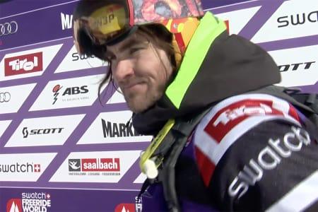 VANT: Dennis Risvoll gikk for to backflips og en svær klippe. Det holdt til førsteplass. Foto: Skjermdump