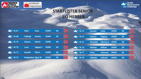Startliste ski herrer Sauda BCC