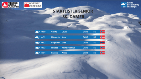 Startliste Ski Damer Sauda BCC