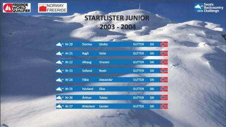 Startliste Junior 2003-2004