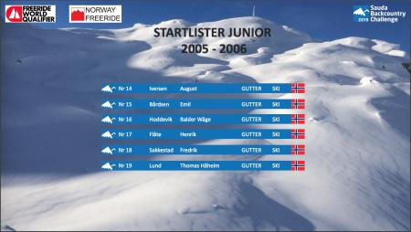 Startliste Junior 2005-2006