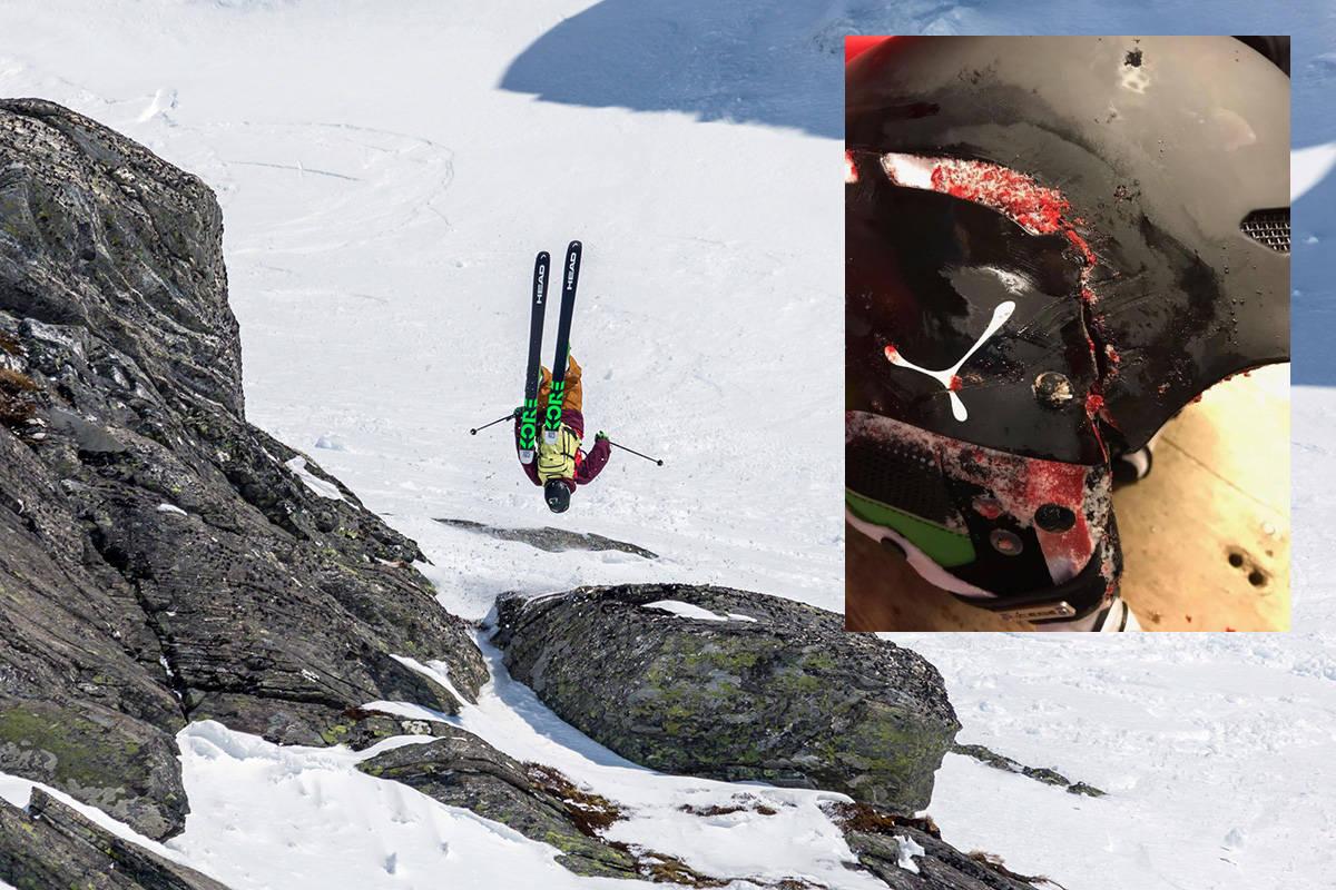 DRAMATISK SKRED: Eirik Schjølberg beviste i fjor at han er en av Norges beste frikjørere da han vant Røldal Freeride Challenge. Lørdag ble han skadet i skred på Lemonsjøen, og knuste hjelmen (innfelt) og pådro seg kraniebrudd. Foto: Espen Mills/ privat
