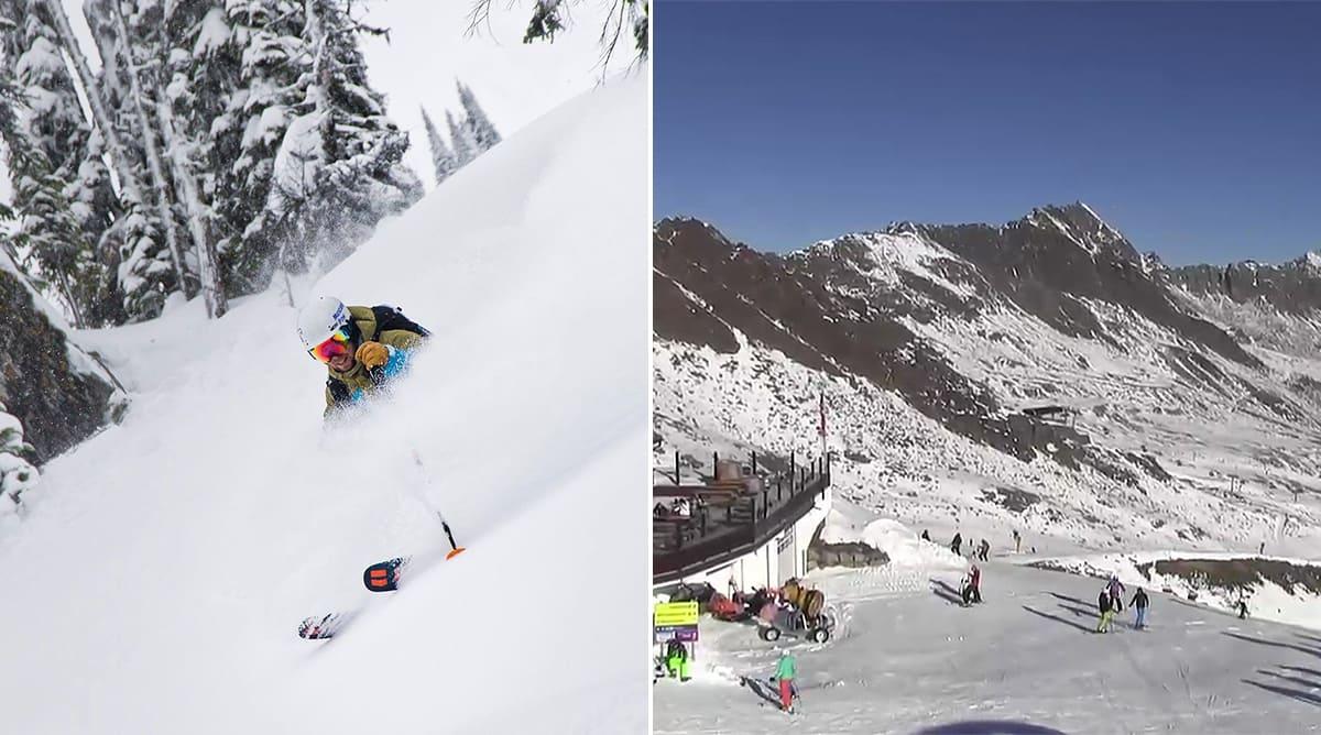 HELGA: Til venstre: Revelstoke i helga. Til høyre: Sölden i Østerrike nå. Foto: Revelstoke Ski Resort / Sölden webkamera