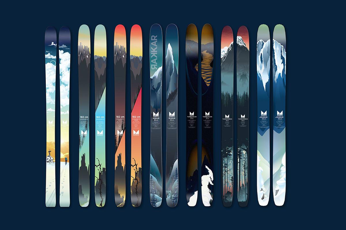 NYE SKI: SGN lanserer en smal og en brei ski til neste år. Her er alle modellene samlet. Foto: SGN skis