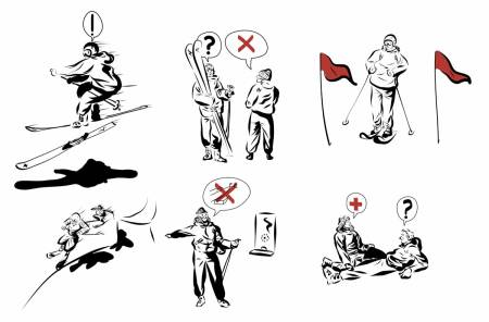 PARKSIKKERHET: Her er de viktigste tipsene for å ungå trøbbel i terrengparken. Illustrasjon: Didrik Magnus-Andresen