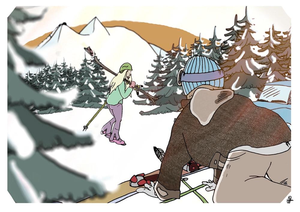 ISKALD KJÆRLIGHET: Dette er historien om iskald kjærlighet som muligens kan tines. Illustrasjon: Jan Petter Aarskog