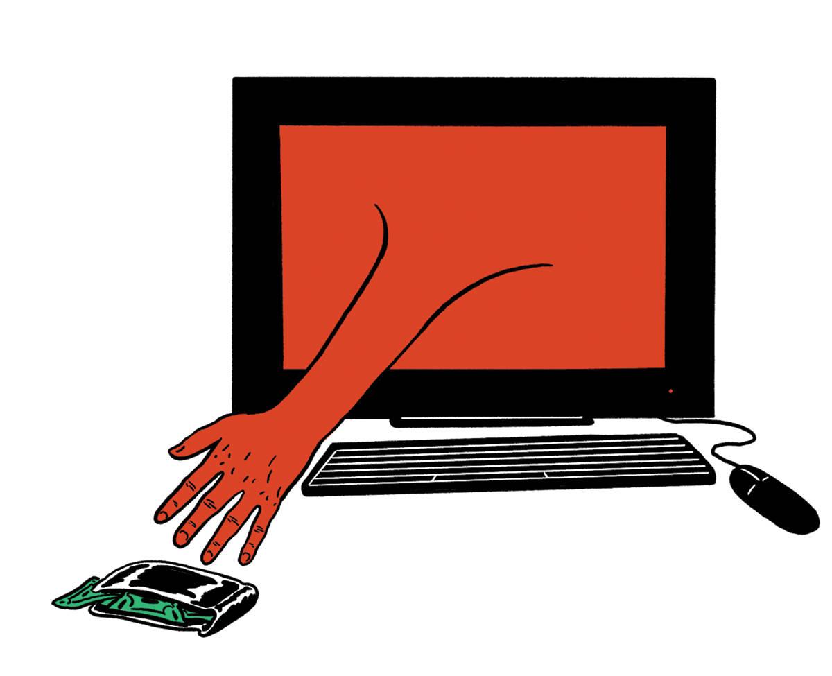 PASS PÅ: Bruktmarkeder på nett er utsatt for svindlere – les disse tipsene for å unngå å bli lurt. Illustrasjon: Didrik Magnus-Andresen