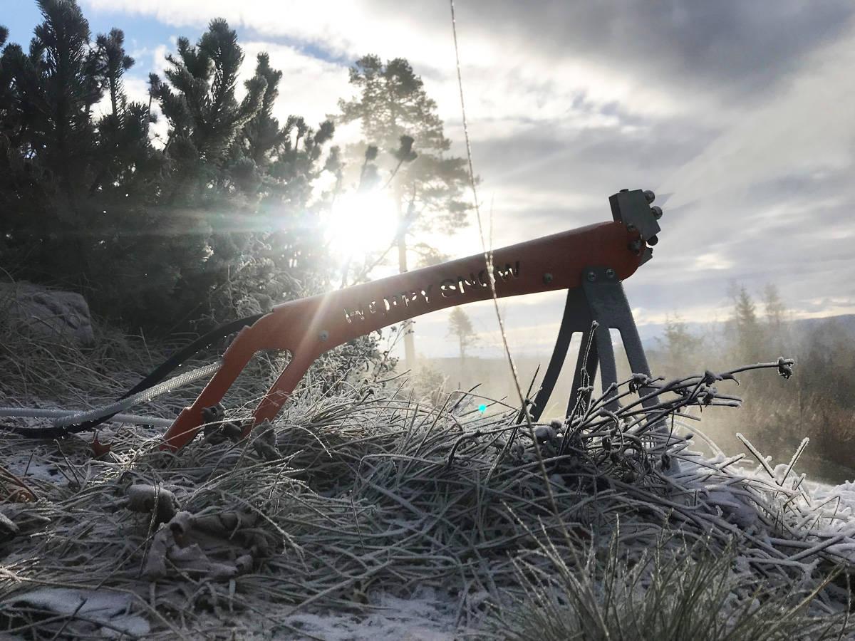 SNØKANON FOR HAGEN: Slik ser Happysnow-snøkanonen ut. Denne fikser nok snø til hageparken din på 12 timer. Foto: Asgeir Linberg