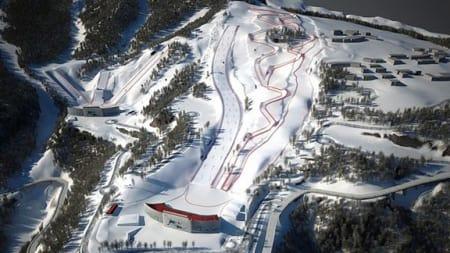 OL-ARENA: Her blir det ikke verdenscup i slopestyle neste uke, på grunn av varme, regn og påfølgende snømangel.