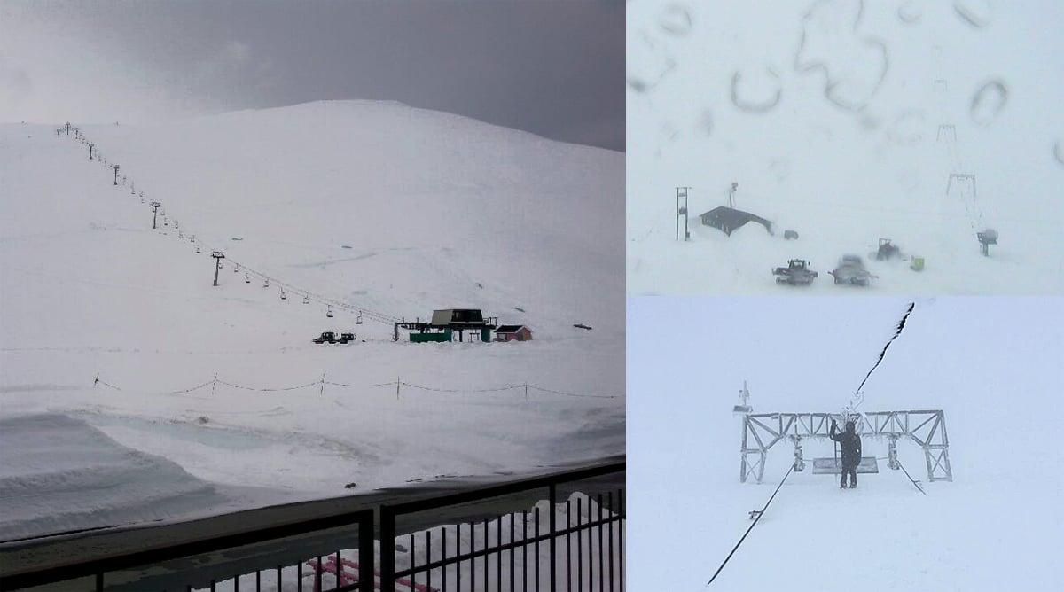 STENGT PÅ GRUNN AV NYSNØ: Sommerskisentrene på Stryn (til venstre), Galdhøpiggen (oppe til høyre) og Folgefonna er stengt på grunn av snøstorm. Men alle håper på åpning fredag.