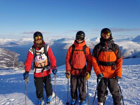 fv: Trygg, Adrian Krohn Tøien og Ole Espen Aldal under Andørja Freeride i år.